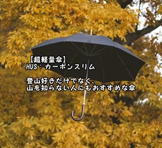 【超軽量傘】HUS:カーボンスリム 登山好きだけでなく、山を知らない人にもおすすめな傘