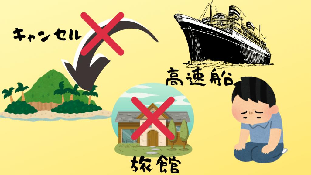 宿や高速船もキャンセルとなり、仕方なしに避難小屋へ